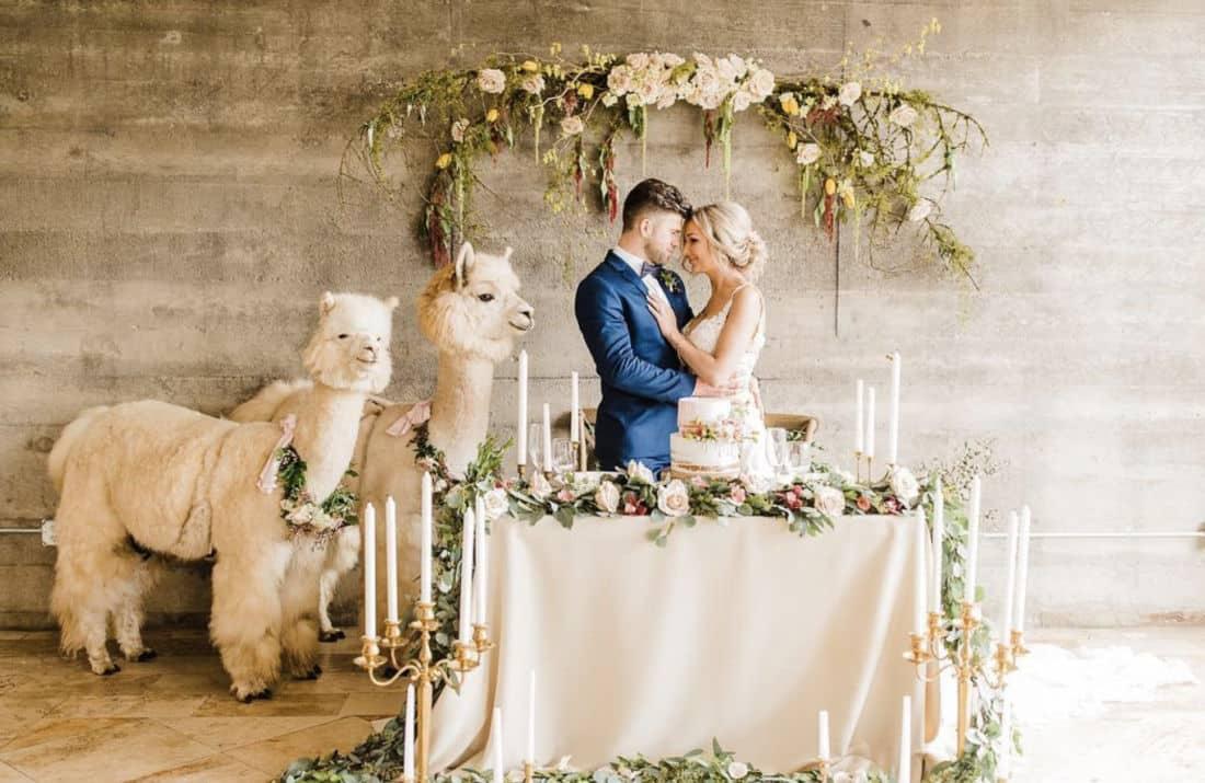 Autel de mariage de jeunes mariés